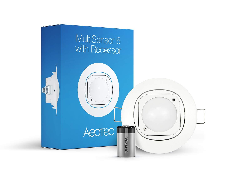 Aeotec Multisensor 6 & Ceiling Recessor, Z-Wave Plus 6-in-1 Motion, Temperature, Humidity, Light, UV, Vibration Sensor…