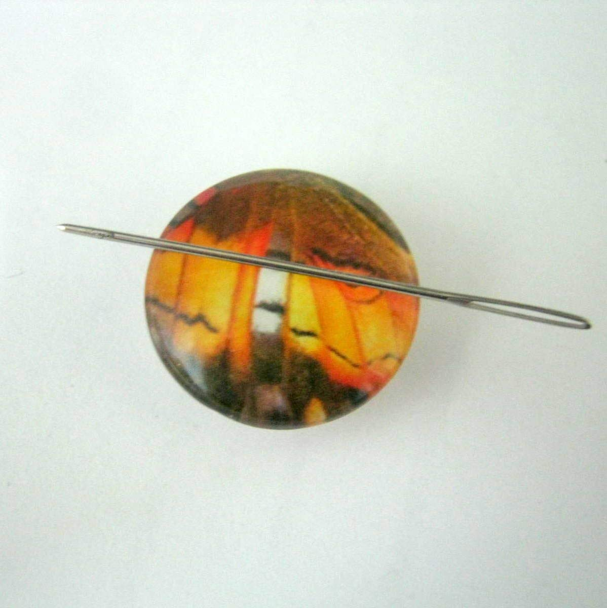 1 Orange Butterfly Glass Cabochon Needle Minder, Hand Needle Notion, Cross Stitch, Embroidery, Sewing, Needle Minder