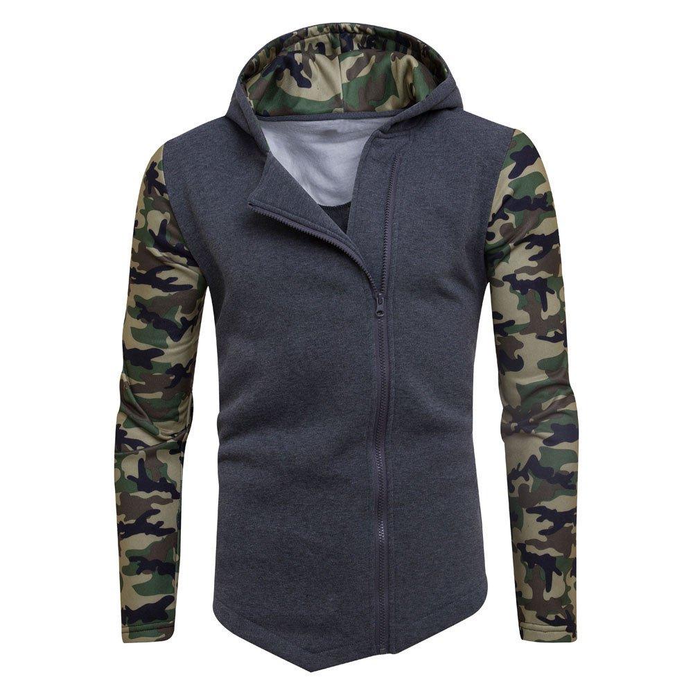 Longra Mens Winter Camouflage Zipper Hoodie Hooded Sweatshirt Jacket Jacket Sports Slim Jacket