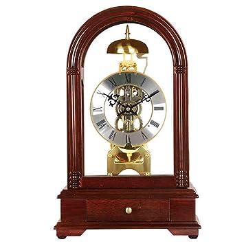 Luckystone Soporte de Escritorio Reloj de Mesa Maquinaria de Madera Maciza Horologe Mecanismo mecánico de Estilo
