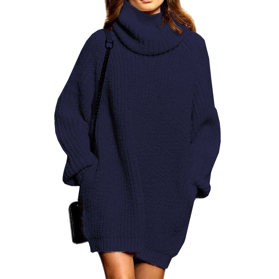 Sweater Dress for Women Cowl Neck Cashmere with Pocket Thick Oversized Pullover Tops,Navy M