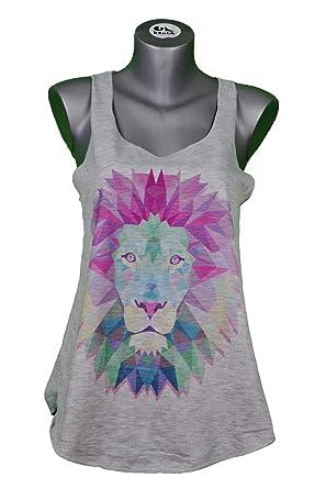 32b8f0408fd Debardeur Femme Imprime Lion - Animal - Illustration Graphique - Origami -  Tattoo - Tatouage