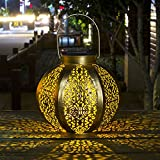 Homeimpro Solar Lantern Hanging Outdoor Warm White LED Garden Lights Metal Waterproof Table Lamp Decorative