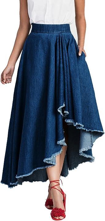 Mujer Faldas Vaqueras Primavera Otoño Elegantes Vintage Azul Talle ...