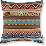CaliTime Canvas Throw Pillow Cover Case for Couch Sofa Home Decor, Geometric Accent 18 X 18 Inches, Vintage Southwestern Geometric