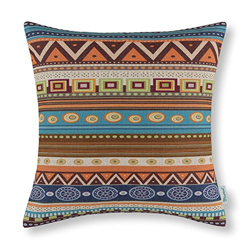 Cheap  CaliTime Canvas Throw Pillow Cover Case for Couch Sofa Home Decor, Geometric..