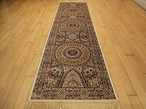 Silk Persian Qum Design Area Rug 2x12 Beige Rug Ivory Rugs Hallway Runner 2x11 Area Rugs Narrow Long Runners (2'x12' Hallway (Beautiful Hand Woven Antique)