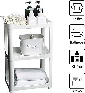 Plastic Shelf Storage Shelving Unit, 3 Tier Storage Organizer Rack Bathroom, Stackable Kitchen Organizer Tower Shelves,White