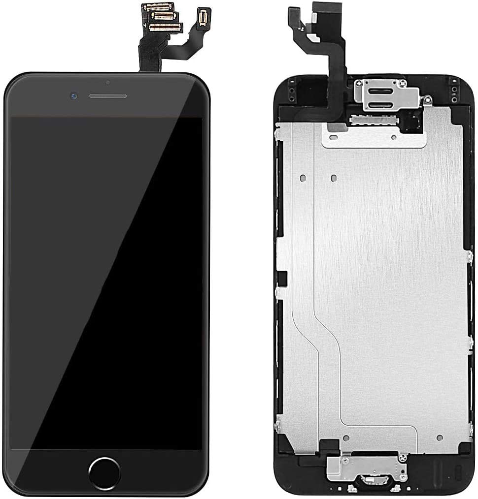 ZTR for iPhone 6 Plus Digitizer Screen Replacement Black 5.5 inch Full LCD Display Assembly with Home Button Front Facing Camera Earpiece Speaker and Repair Tool Kits
