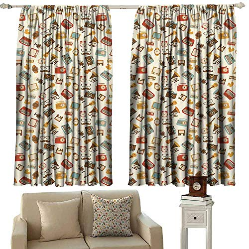 Sliding Curtains Vintage Retro Pattern Old Fashioned Icons Alarm Clock Typewriter Gramophone Radio Cassette Light Blocking Drapes with Liner W63 xL45 Multicolor
