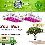 Sugo 2PCS 2nd GEN 600W Led Grow Lights Full Spectrum Lamp Panel Plant Light