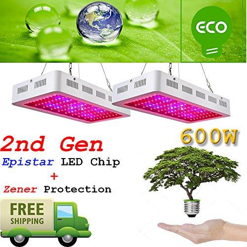 Sugo 2PCS 2nd GEN 600W Led Grow Lights Full Spectrum Lamp Panel Plant Light by Sugo