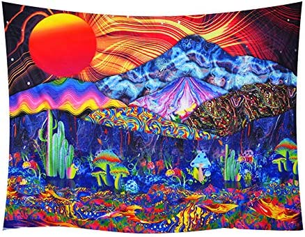 Psychedelic Tapestry Mushrooms Tapestry Colorful Mountain Landscape Tapestries Wall Art Hippie Sun Art Bedroom Living Room Dorm Home Tapestry Wall Hanging. 78.7 W 59.1 H, Psychedelic Tapestry-01
