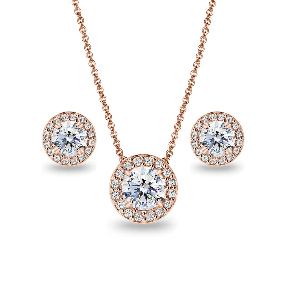 Rose Gold Flashed Sterling Silver Round Halo Stud Earrings & Necklace Set Made with Swarovski Zirconia
