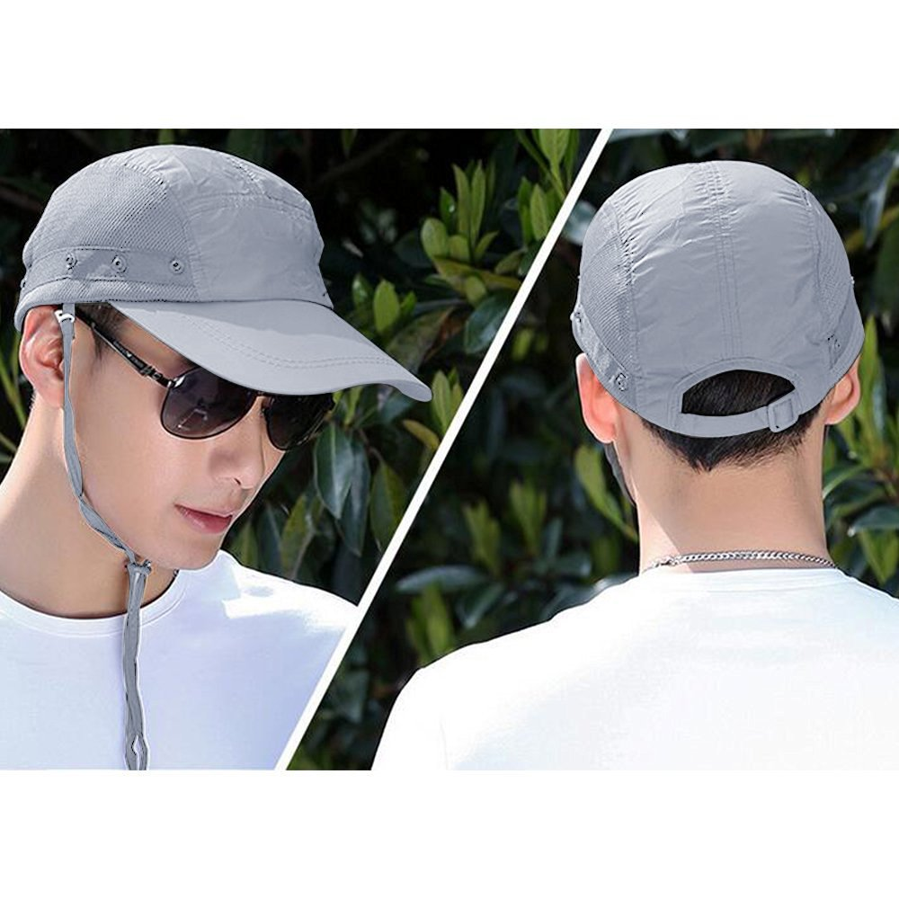 360° UV protection Sun Cap,Dolida Flap Hat Man Women Folding UPF 50+ Sun Cap Adults Removable Neck & Face Flap Cover Cap for Fishing Hiking Garden Work Outdoor Activities Grey