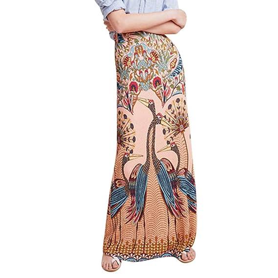 Falda Estampada Larga Mujer Elegante Vintage/QIjinlook/Faldas ...