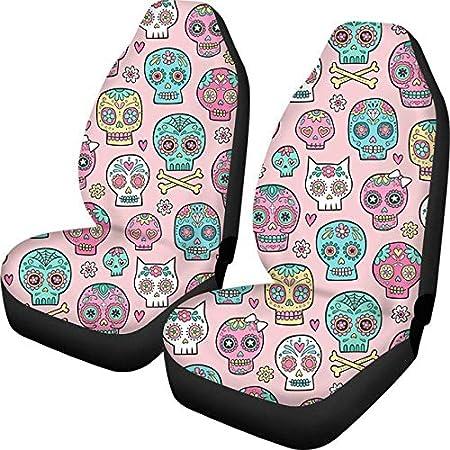 Gothic Sugar Skull Car Seat Cover 2pcs Set Fashion Car Accessories Men Women Car Truck Universal Seat Cover 47.5 75.5 49.5cm 2