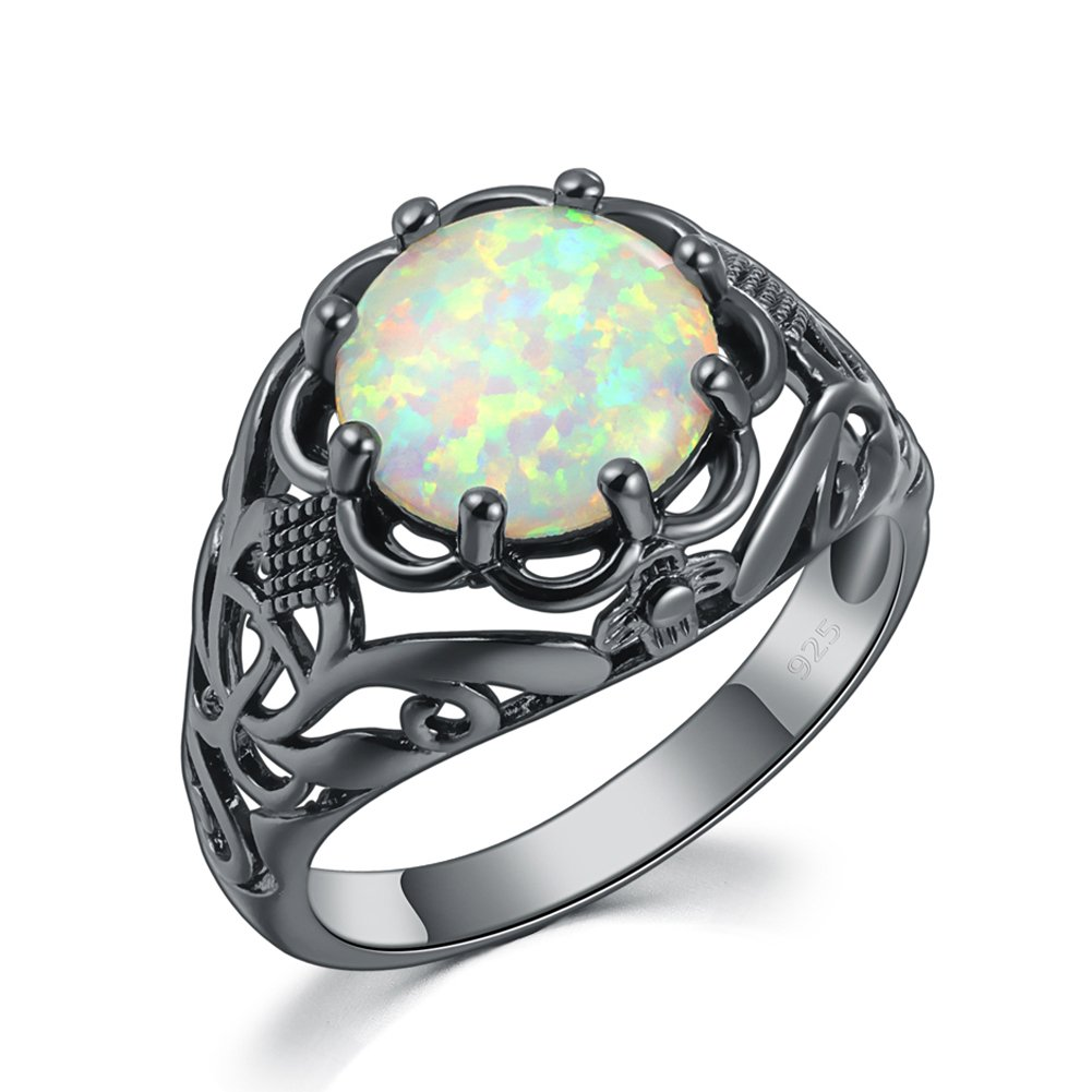 CiNily Created White Fire Opal Black Gold Plated Women Jewelry Gemstone Ring Size 5-10