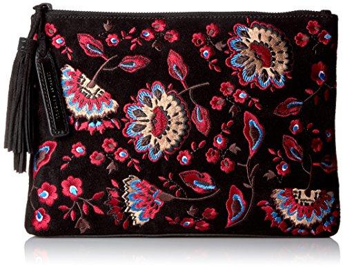 Black Suede Black Pouch Clutch Floral LOEFFLER Embroidered RANDALL Tassel wzFaaq8