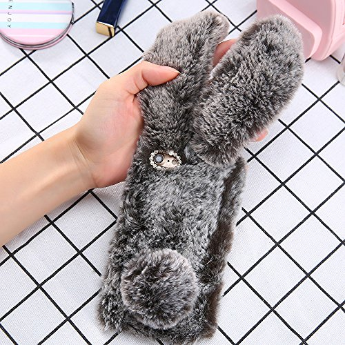 Plush Cover for iPhone 7 Plus / 8 Plus Case LAPOPNUT Cute Bunny Ears Case Luxury Winter Soft Warm Cover Fluffy Furry Rabbit Shockproof Back Bumper with Chic Bling Crystal Diamond-Brown