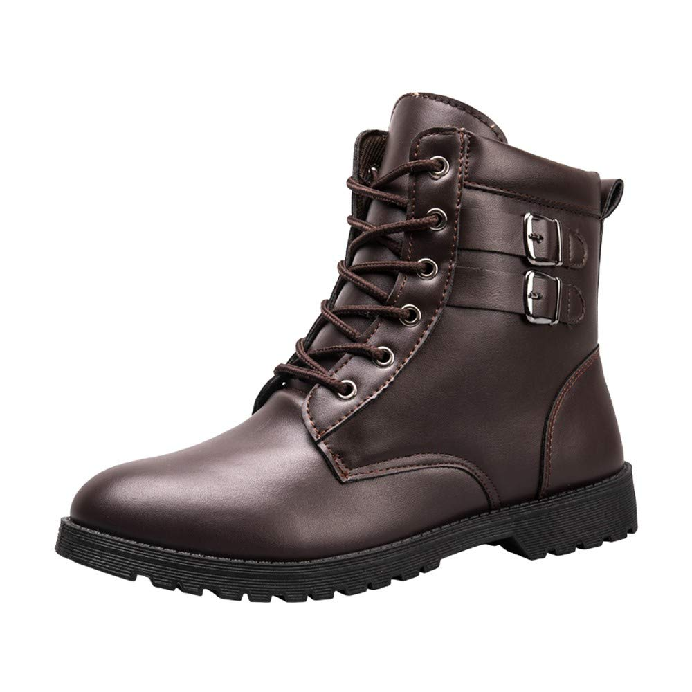 Molyveva Mens Warm Winter Ankle Boots Men Casual Shoes Work Tooling Martin Boots
