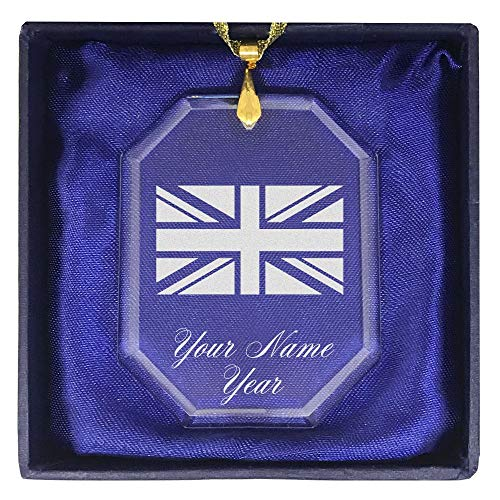 Ornament, Flag of Great Britain, Personalized Engraving Included (Rectangle Shape) ()