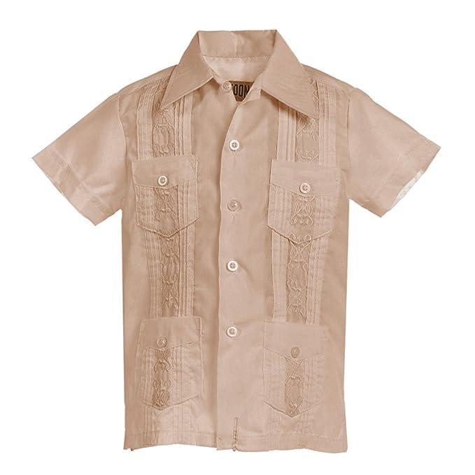 e6e3d495b1d Kids Boys Platoon Guayabera Short Sleeve Cuban Shirt Wedding Beach -  Toddlers   Juniors (1
