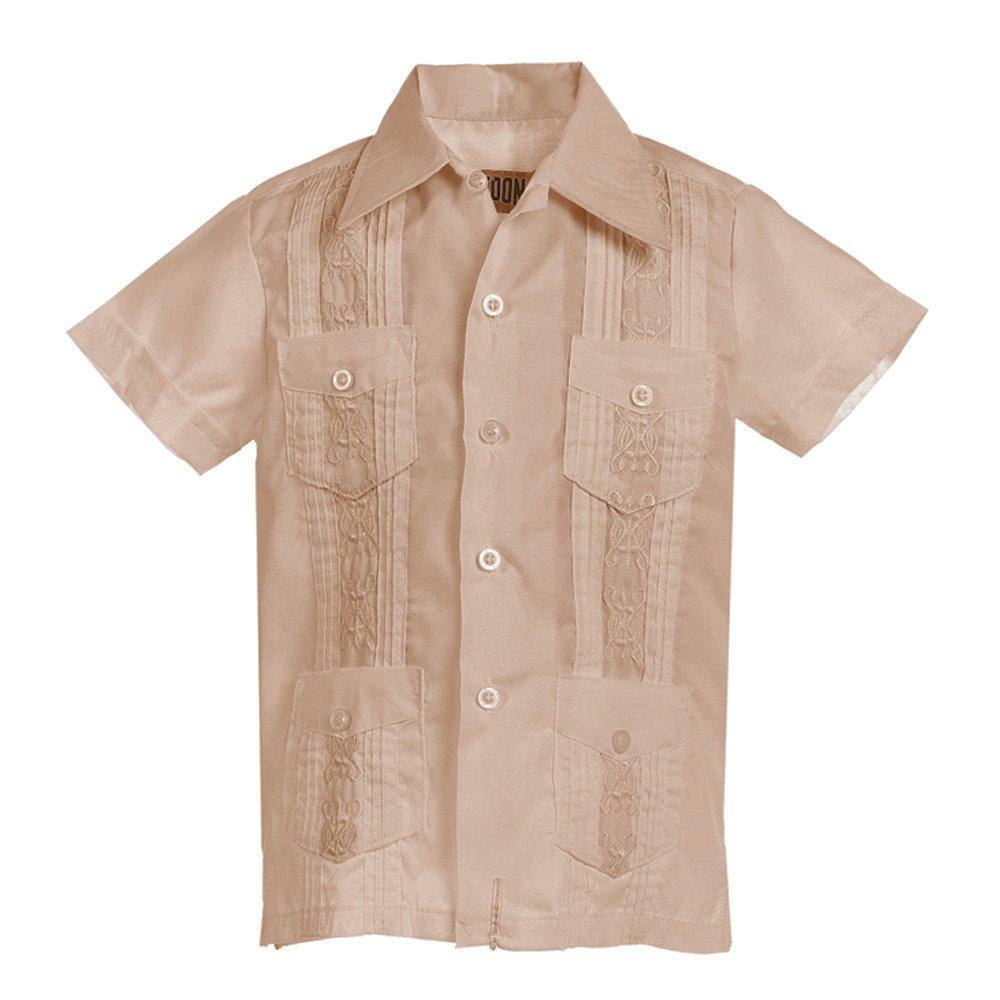 Platoon Kids Boys Guayabera Short Sleeve Cuban Shirt Wedding Beach - Toddlers & Juniors (3, Beige)