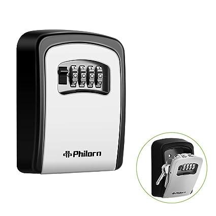 PHILORN Key Lock Box, 4 Digit Combination Lockbox | Resettable Code    Weatherproof