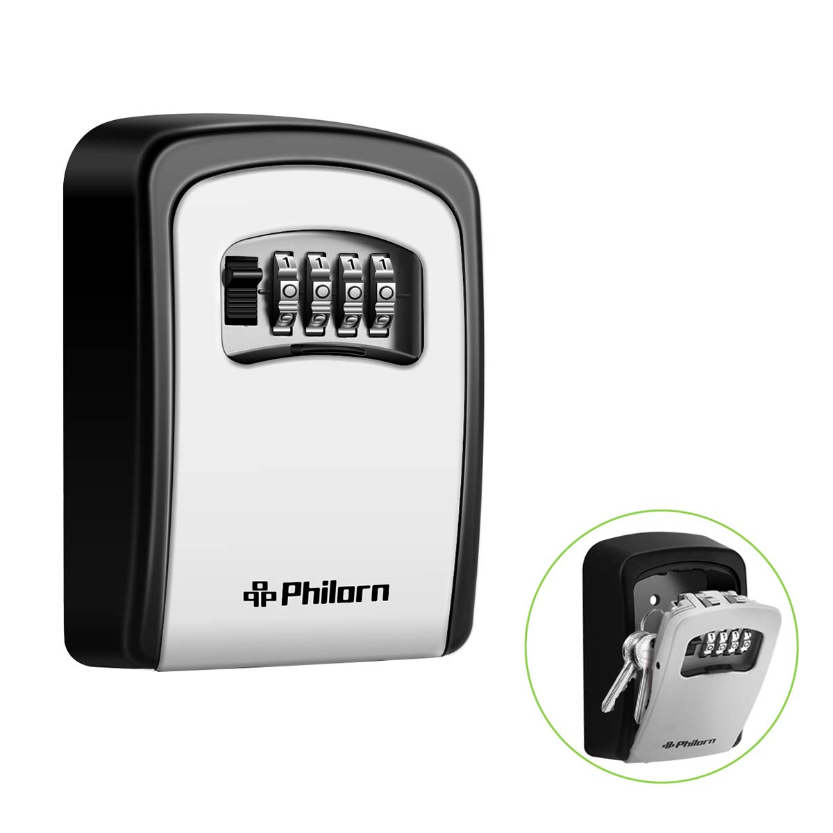 PHILORN Key Lock Box, 4-Digit Combination Lockbox | Resettable Code - Weatherproof - Wall or Door Mounted | Top Security, Ultra-Sturdy Key Safe for Jewelry, Card, House Key Storage