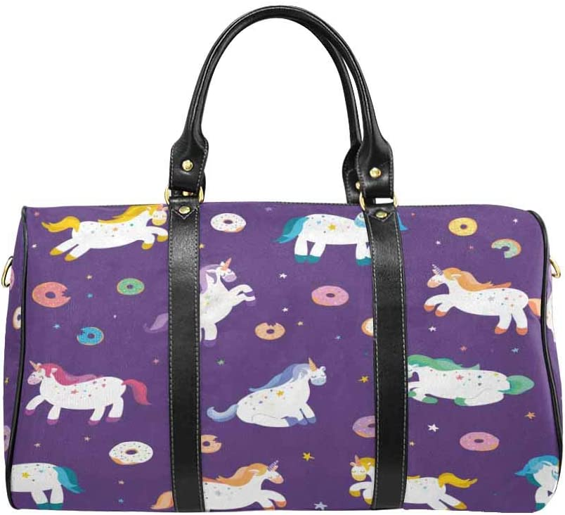 InterestPrint Carry-on Garment Bag Travel Bag Duffel Bag Weekend Bag Cute Unicorns With Donuts