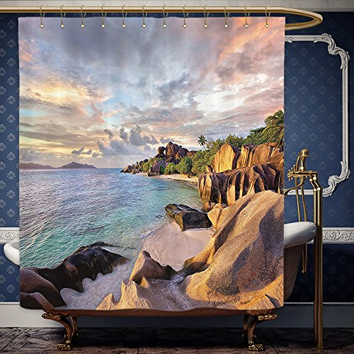 Wanranhome Custom-made shower curtain Seaside Decor Set Tropical Rock Sandy Beach at Sunset in Island with Majestic Sky Light Art on Earth Photo Cream Blue For Bathroom Decoration 36 x - Sunset At The Galleria