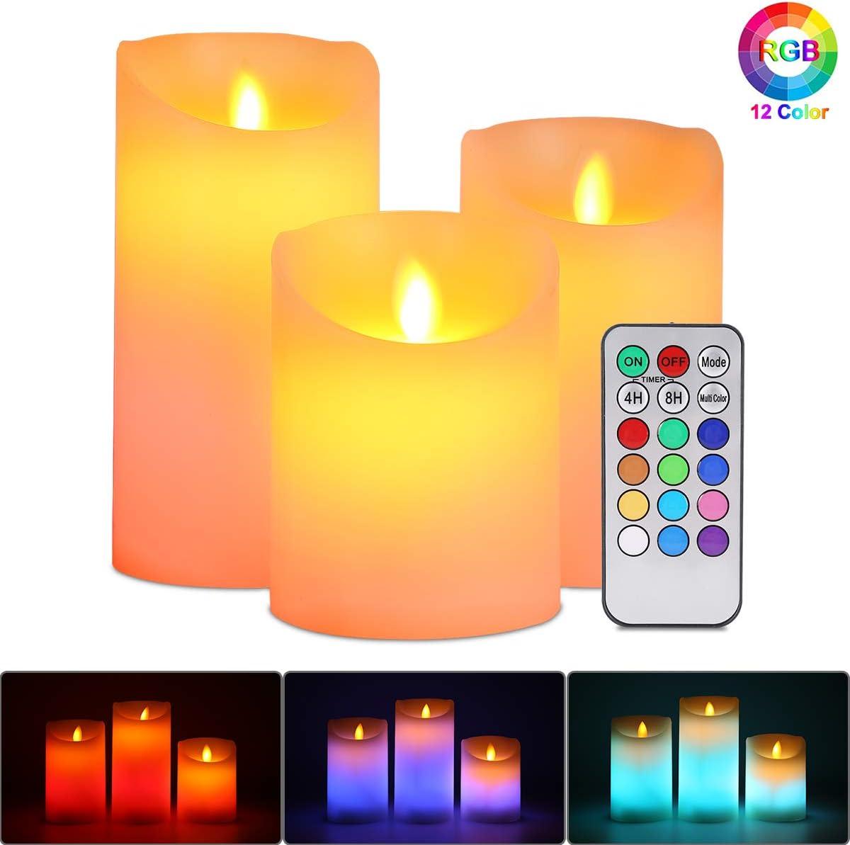 Velas de LED sin Llama, ALED LIGHT Pack de 3 Blanco Cálido más Multicolores Velas Electricas de Cera Reales con Mando a Distancia y Temporizador Velas Decorativas de pilas para Decoración, Bodas