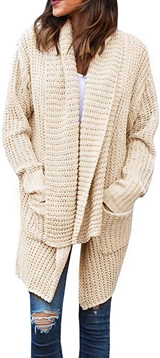 Kathemoi Women Open Front Chunky Cardigan Long Sleeve Sweater With