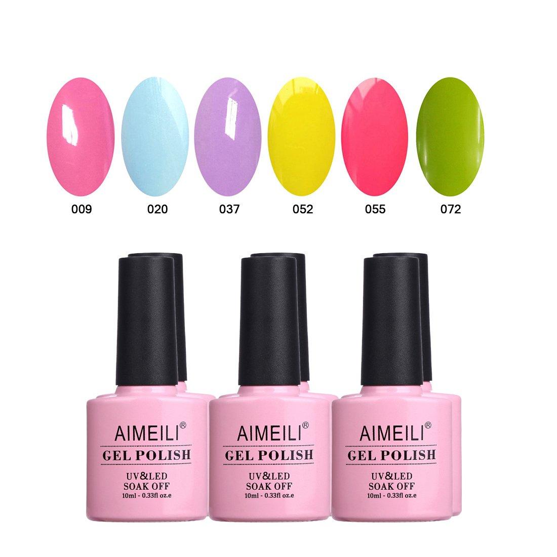 AIMEILI Set Smalto Semipermente in Gel UV LED per Manicure Smalti per Unghie Soak Off Gel Polish Estate Primavera Colorati Set 6 x 10 ml (SET6-24)