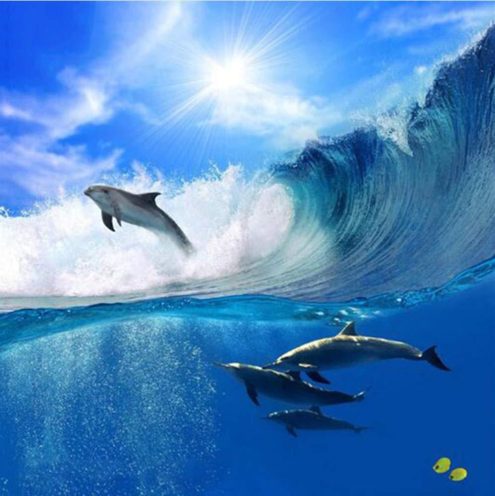 WHXJ Diamante Lleno Pintura Diamante 5D DIY Pareja De Delfines Bordado De Punto De Cruz Rhinestone Pintura Mosaico Decoración 45X60Cm