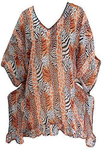 La Leela v cubre el cuello de cebra gasa pura playa abstracta hasta envoltura mujeres marrón