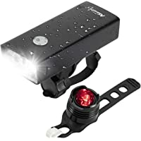ALONEFIRE BL04 USB Rechargeable LED Bike Headlight Front and Back 2400 Lumen Bicycle Light Set IPX5 Waterproof with 3…