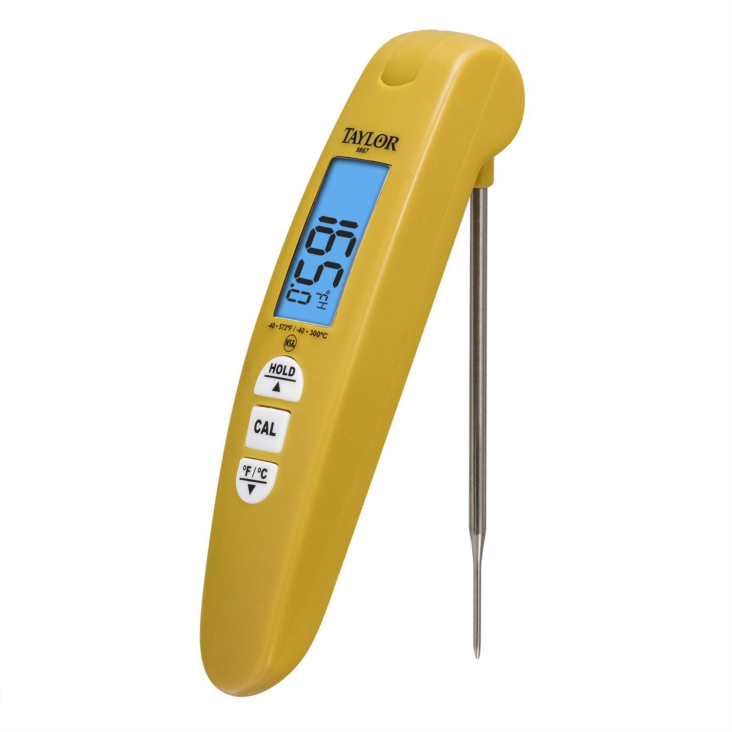 Taylor Precision Products Digital Turbo Read Thermocouple Thermometer with Folding Probe, Yellow