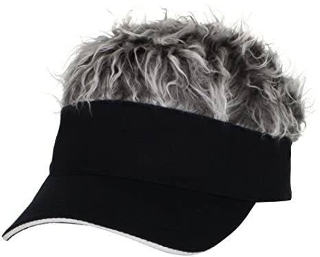 Amazon.com  Flair Hair Mens Visor with Gray Wig One Size Fits Most ... 59d21bab344