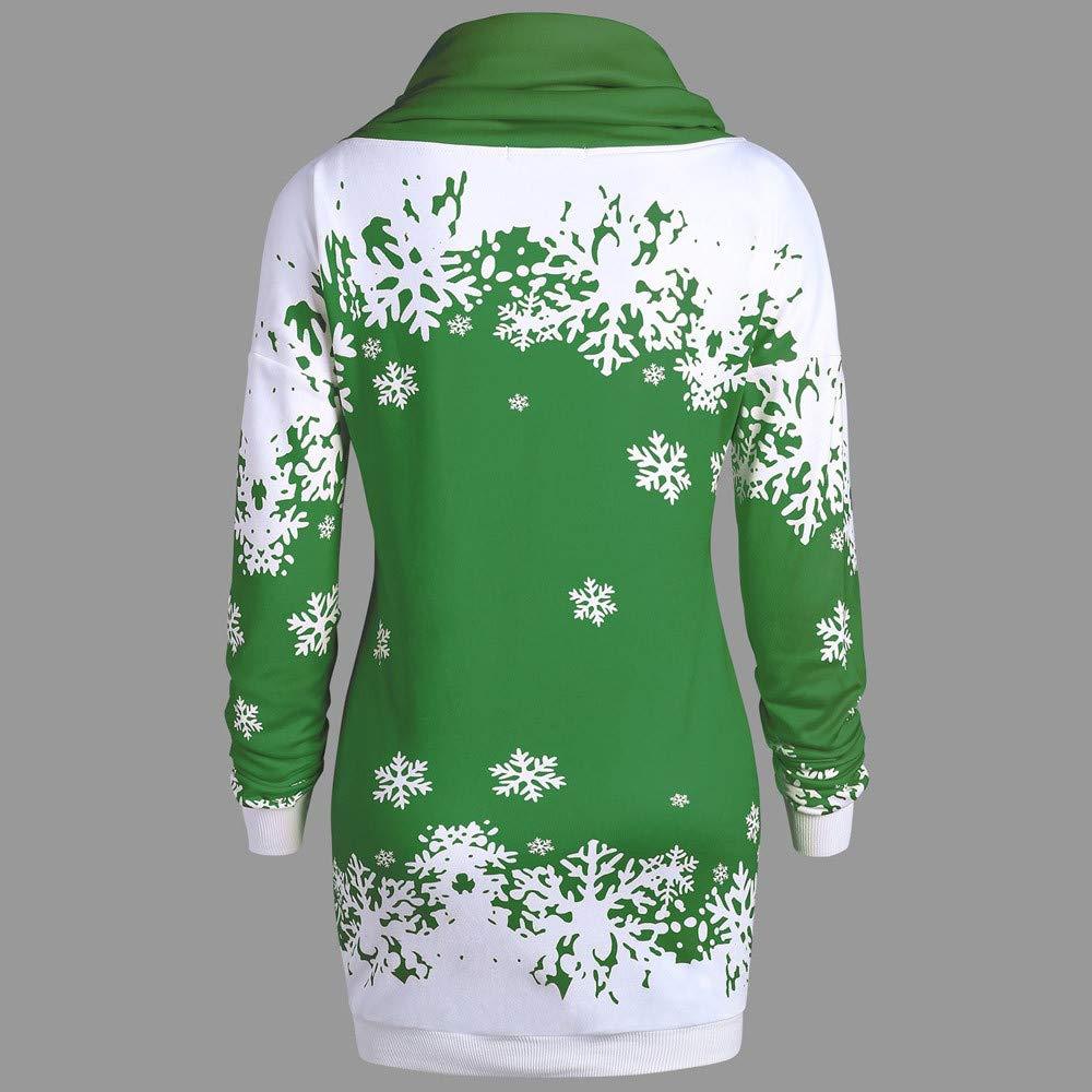 TWGONE Christmas Mini Dress Women Snowflake Printed Tops Cowl Neck Sweatshirt Blouse