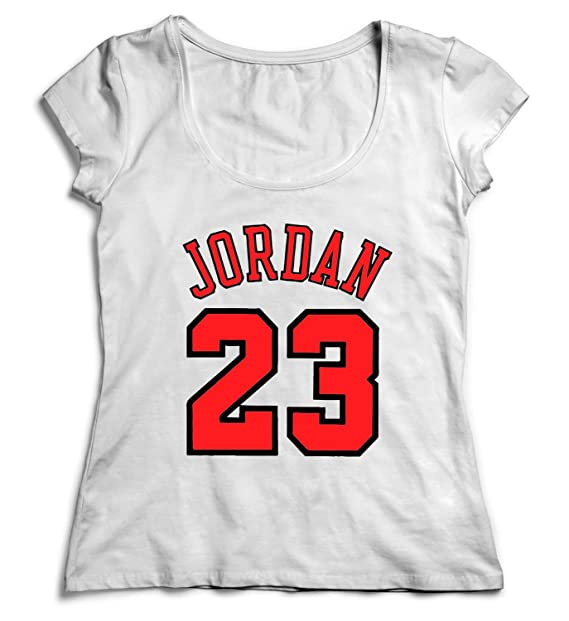a9ef662b7d4f32 Jordan 23 Number Basketball Shirt for Women Christmas T-Shirt Tshirt Cotton  SM White Women