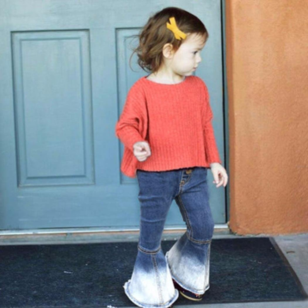 769d64881 Amazon.com: Fineser Little Girl's Vintage Jeans Bell-Bottoms Denim Pants  Skinny Pants 2-6T: Clothing