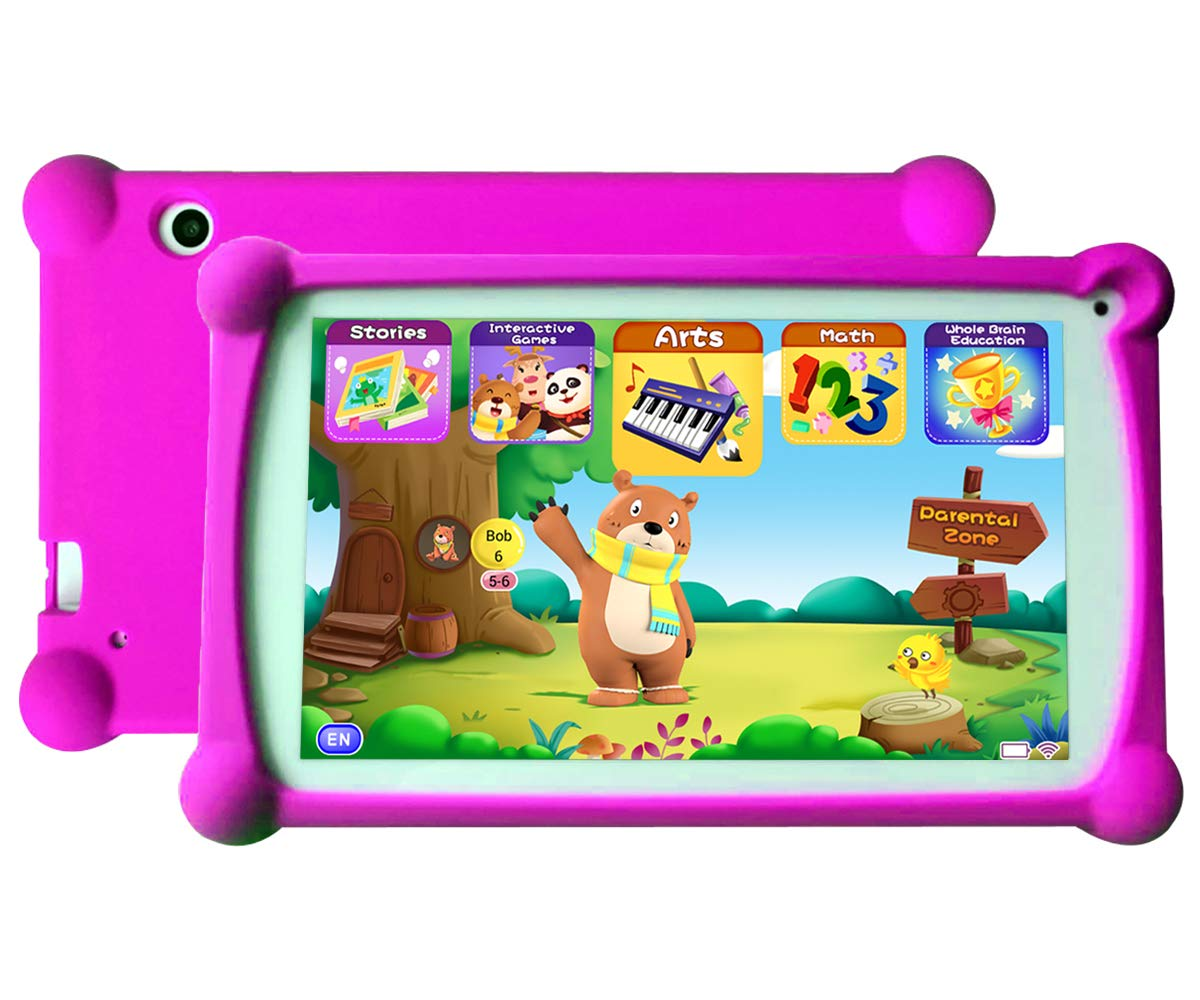 7 Inch HD Display 1+8G Android 6.0 Tablet-Pink B.B.PAW Enhance//Train Kids Abilities and Develop Talents,120+ English Educational Preloaded Apps Kids Tablet