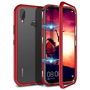 CE-Link Funda Huawei P20 Lite, Carcasa Fundas Magnética Cubierta de Trasera de Vidrio Templado Transparente con Metal Parachoque Imanes Incorporados ...
