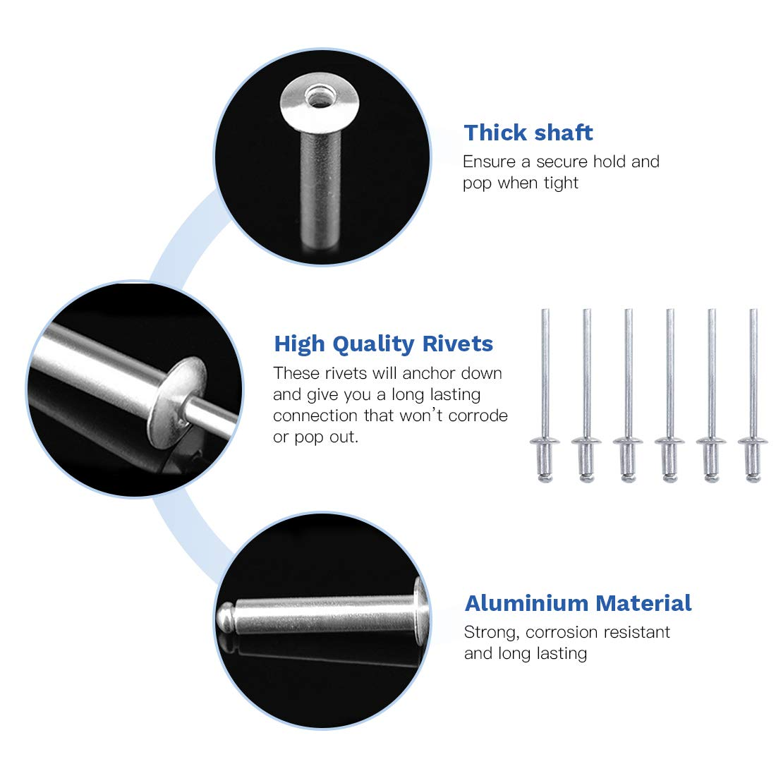 and Duct Work Automotive Glarks 200Pcs 1//8 x 15//16 Aluminum Body Steel Mandrel Dome Head Blind Rivets Set for Sheet Metal Railway