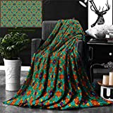 Ralahome Unique Custom Double Sides Print Flannel Blankets Orange Decor India Ethnic Design Lovers Floral Print Fern Green Marigold Navy Blue Super Soft Blanketry Bed Couch, Twin Size 80 x 60 Inches
