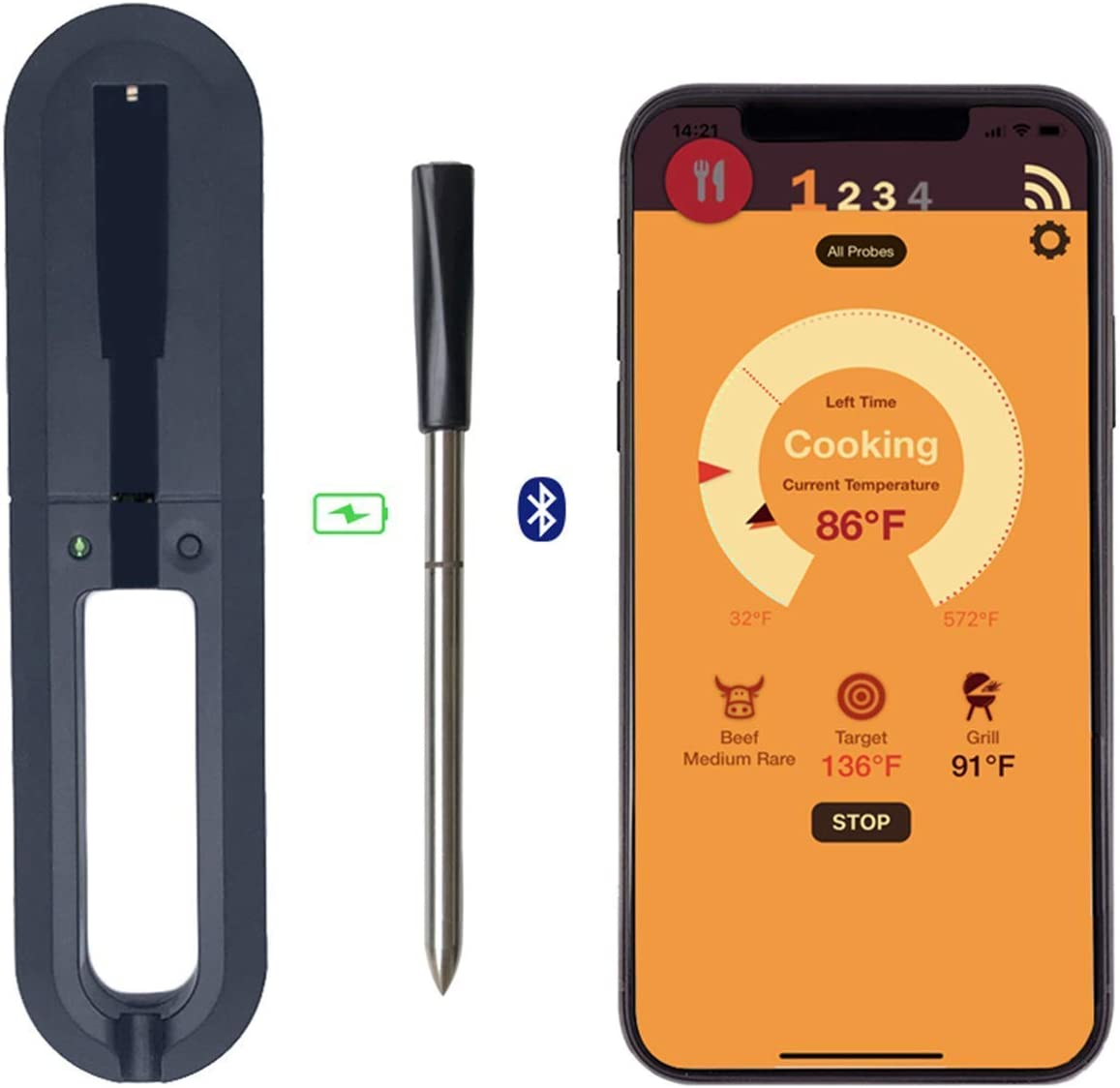 Wireless Meat Thermometer with Smart Bluetooth and Digital Connectivity for BBQ, Oven, Smoker, Stove Top, Kitchen, Rotisserie