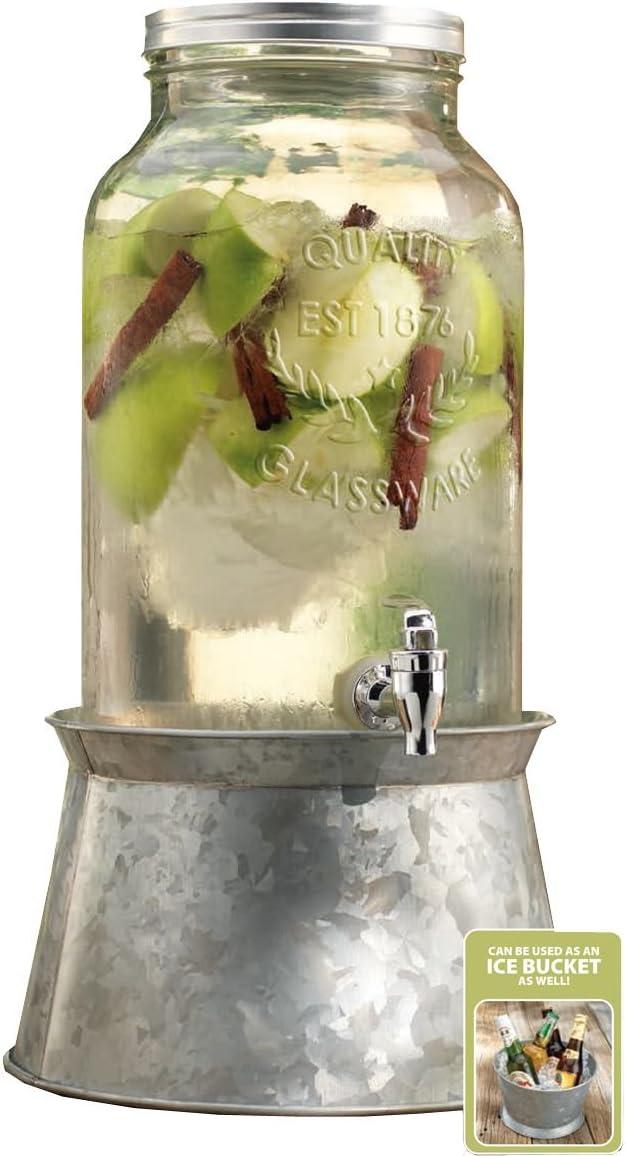 Palais Glassware Mason Jar Beverage Dispenser - Traditional Tin Screw Off Lid - 1.5 Gallon Capacity - With Ice Bucket Base (Silver)