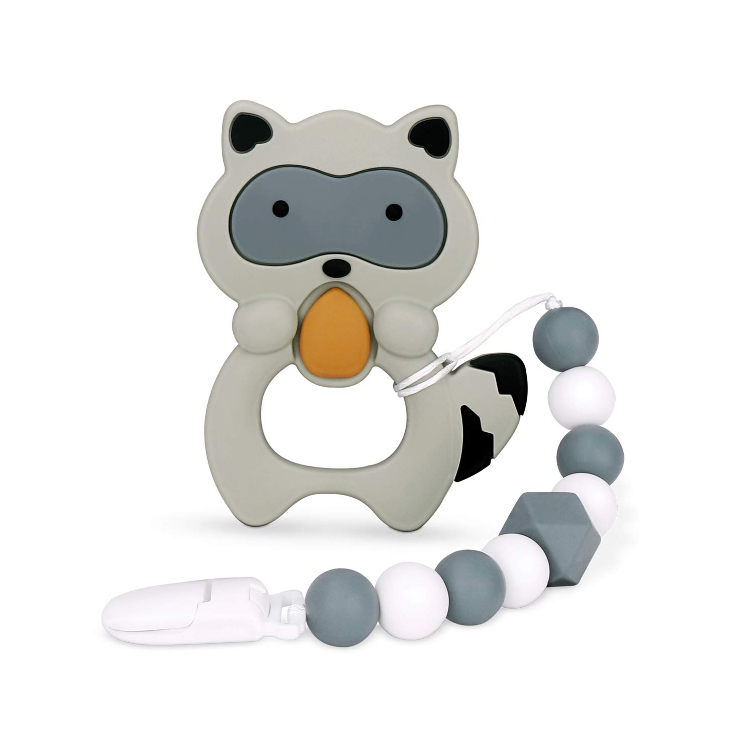 Teething Pain Relief Raccoon Yellow Best Newborn Shower Gifts for Trendy Boy or Girl Silicone Teether with Pacifier Clip Natural BPA Free Raccoon for Freezer moopok Baby Teething Toys